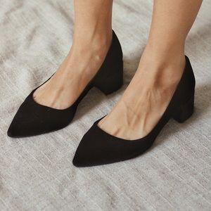 Black Pointy Velvet Shoes